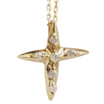「あす楽対応」6石 クロス 十字架 ダイヤ ゴールド ペンダント ネックレス K18 「4P0356K」【送料無料】 *