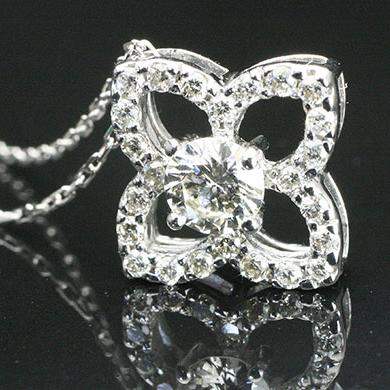 フラワー 花 ダイヤモンド ペンダントネックレス K18WG 18金ホワイトゴールド 25石 0.30ct 「4P0434W」 【送料無料】 *
