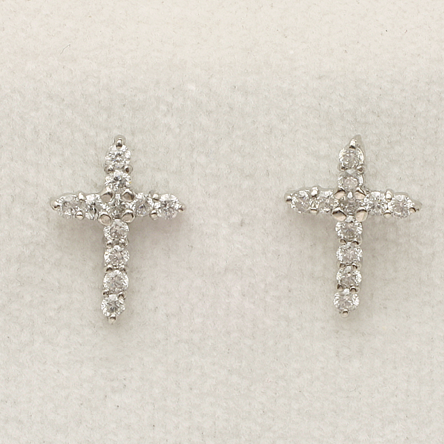 0.22ct クロス 十字架 ダイヤモンド ピアス K18WG 「4pe0234」【送料無料】 *