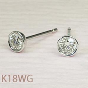 一粒 ダイヤモンド ピアス ダイヤモンドピアス K18WG  0.1ct レディースファッション「4pe0412w」 【送料無料】 *