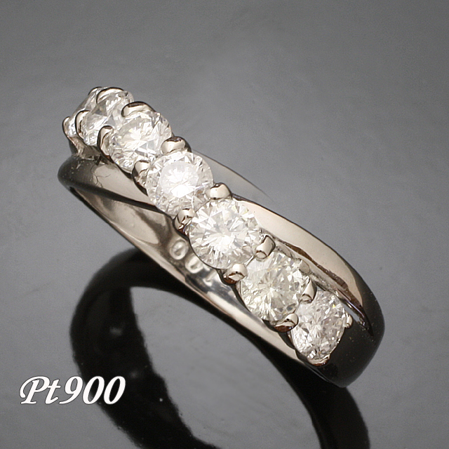 1.0ct 1列7石 値下げ ダイヤモンド リング Pt900 2号~32号 送料無料 プラチナ 93366P 大人気