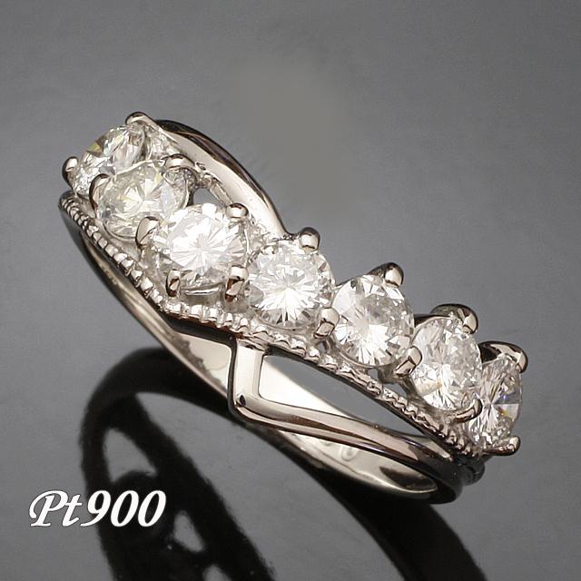 V字デザイン 1.0ct ダイヤモンド リング Pt900 プラチナ 2号~32号 「93370P」【送料無料】 *
