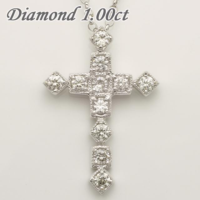 1.00ct クロス ダイヤモンド ペンダント ネックレス チェーン付 十字架 「96080wh」【送料無料】 *