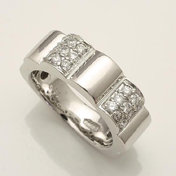【送料無料】Pt900 花のシルエット 0.35ct ダイヤモンド リング 「914144P」 *