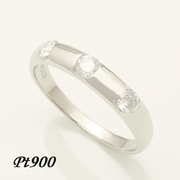 0.3ct ダイヤモンド 3石 リング Pt900 プラチナ 2号~32号「93360P」【送料無料】 *