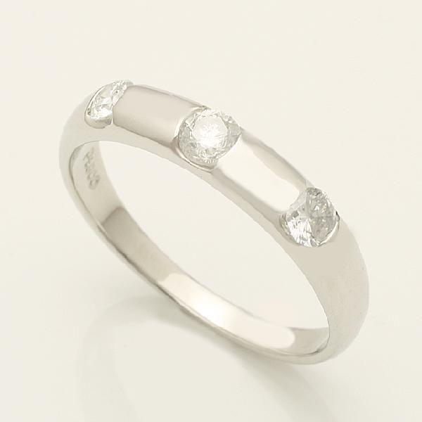 0.3ct ダイヤモンド 3石 リング K18WG ホワイトゴールド 2号~32号「93360W」【送料無料】 *