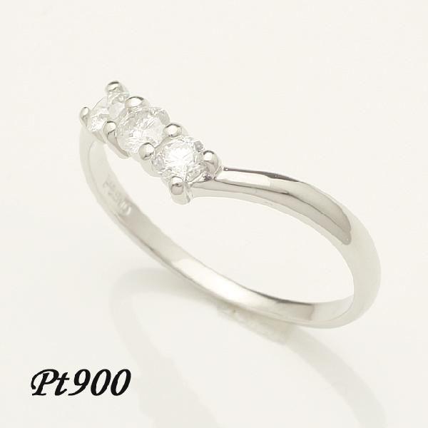 0.3ct ダイヤモンド 3石 リング V字デザイン Pt900 プラチナ 2号~32号「93362P」【送料無料】 *