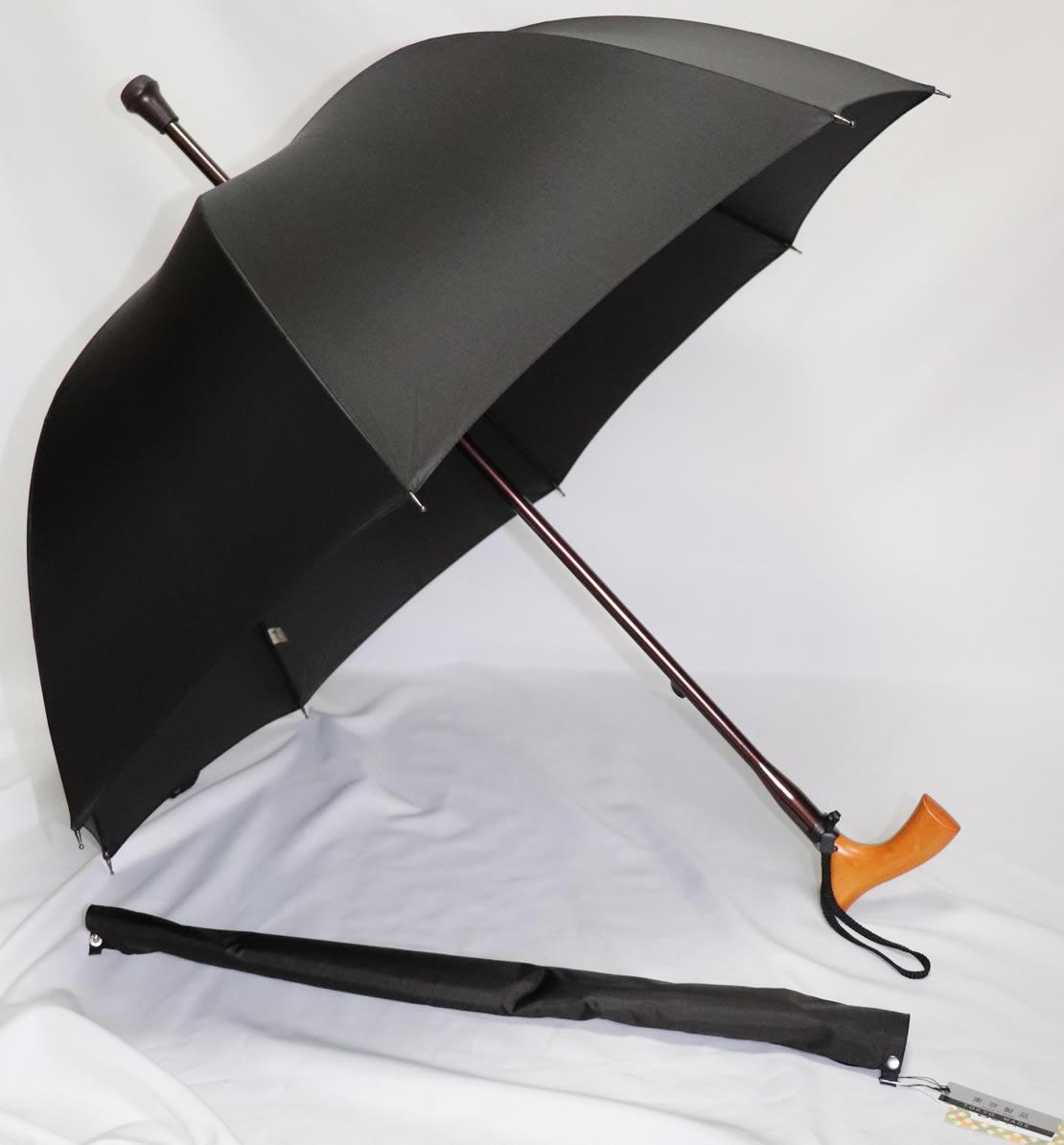 傘ステッキ ステッキ 傘 突ける傘「ステッキ傘 手開き L字型 ブラック」【送料無料】「シニア市場」