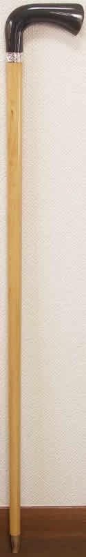 最高級柘植(つげ)水牛L字型ステッキ 唐草純銀リング 太目 【送料無料】「シニア市場」
