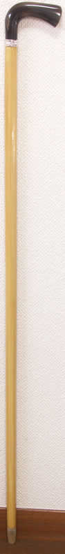 最高級柘植(つげ)水牛L字型ステッキ 唐草純銀リング 細目 【送料無料】「シニア市場」