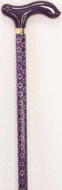 和み樫L字型ステッキ 小花和紙張り 紫