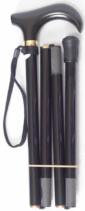 折りたたみ 折り畳みステッキ 軽量なステッキ 杖 カーボン 超軽量折りたたみカーボンステッキ 黒 【送料無料】