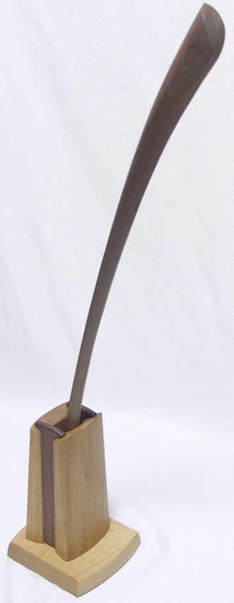 ブラックウォールナットの70cmのロング靴べらと汎用靴べら立てのセット 【送料無料】