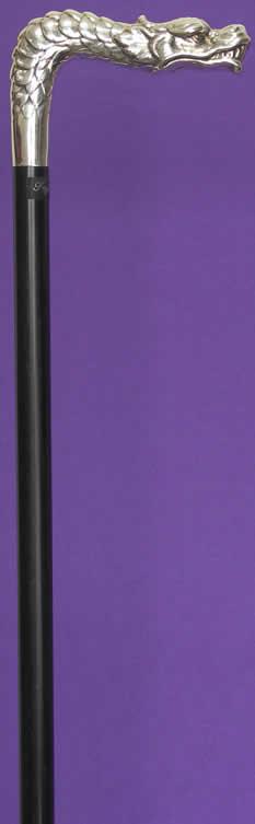 銀メッキドラゴンL字型ステッキ スタミナウッド 【送料無料】「シニア市場」