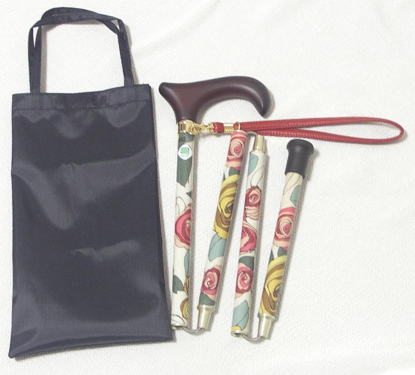전통적인 중 고무 식 폴딩 스틱와 달리 쉽게 접을 수 있는 「 축소 꽃무늬 스틱 하이라이트 탑 식 글라스 로즈 화이트 」
