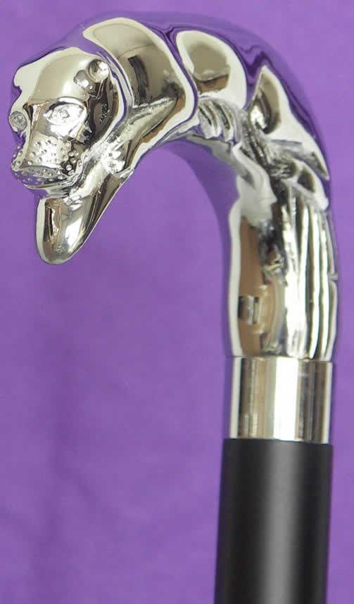 Silver plated Jaguar L-shaped ebony cane Rakuten senior market