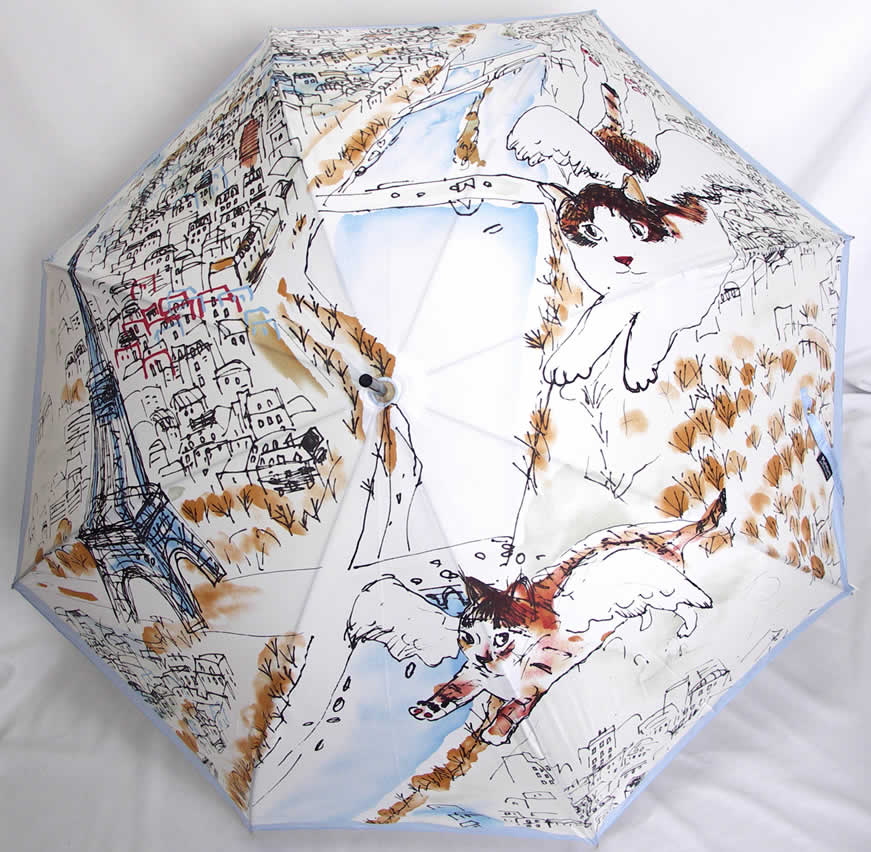 マンハッタナーズ傘 婦人傘 レディース 長傘 猫 「マンハッタナーズ ボンジュール!パリ 婦人・女性用長傘 ブルー」 【送料無料】