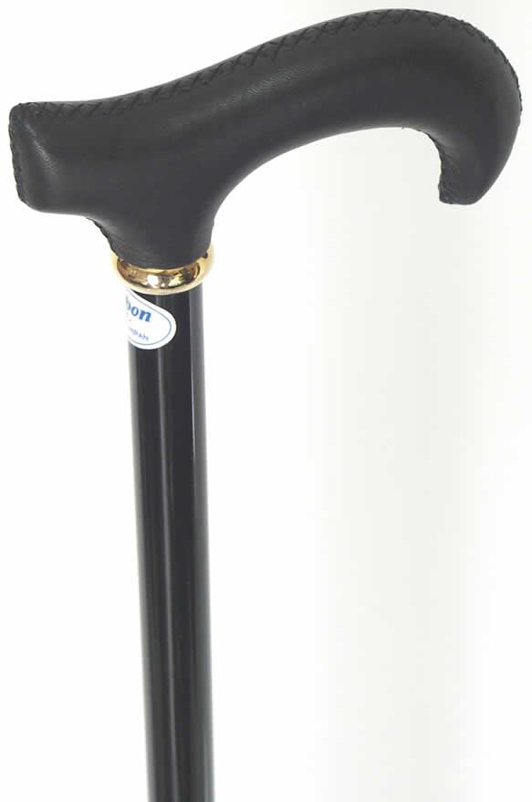 レザー(牛革巻き)L字型カーボンステッキ(杖) ブラック 【送料無料】「シニア市場」