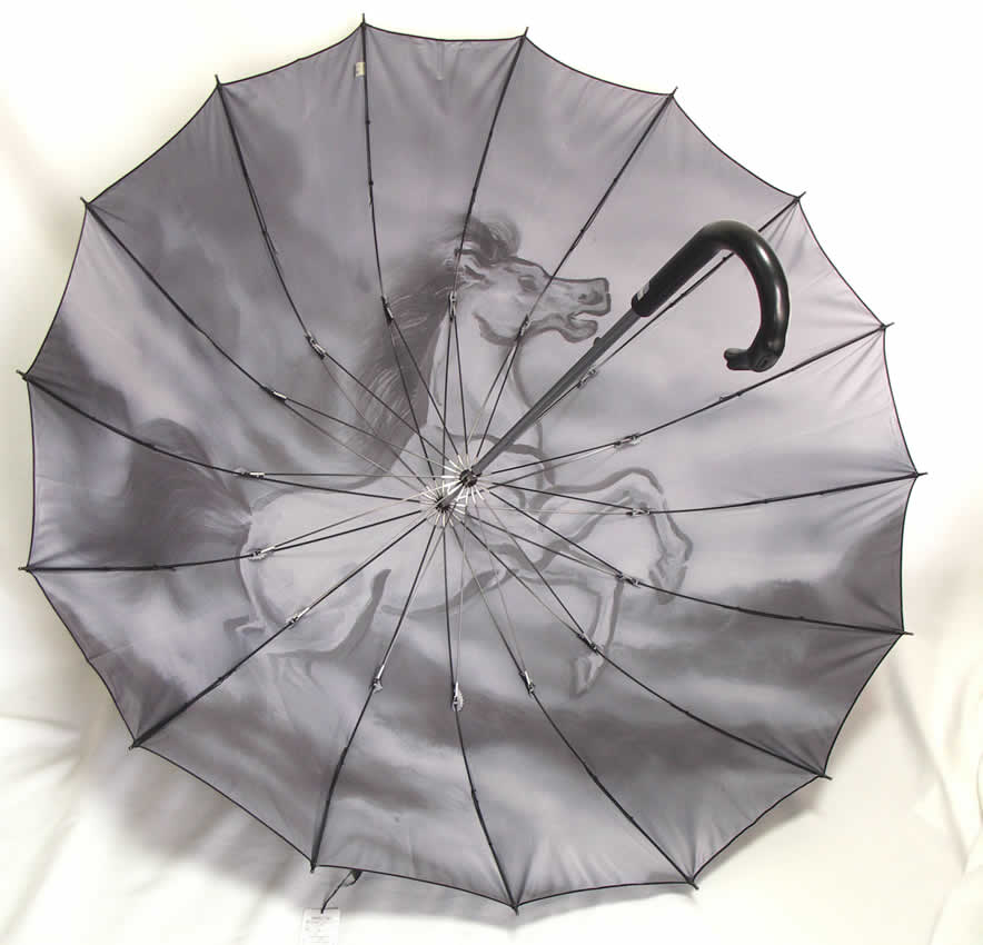 遊び心のわかる大人の逸品!「紳士用傘 カーボン16本骨 一枚張り 馬」 【送料無料】