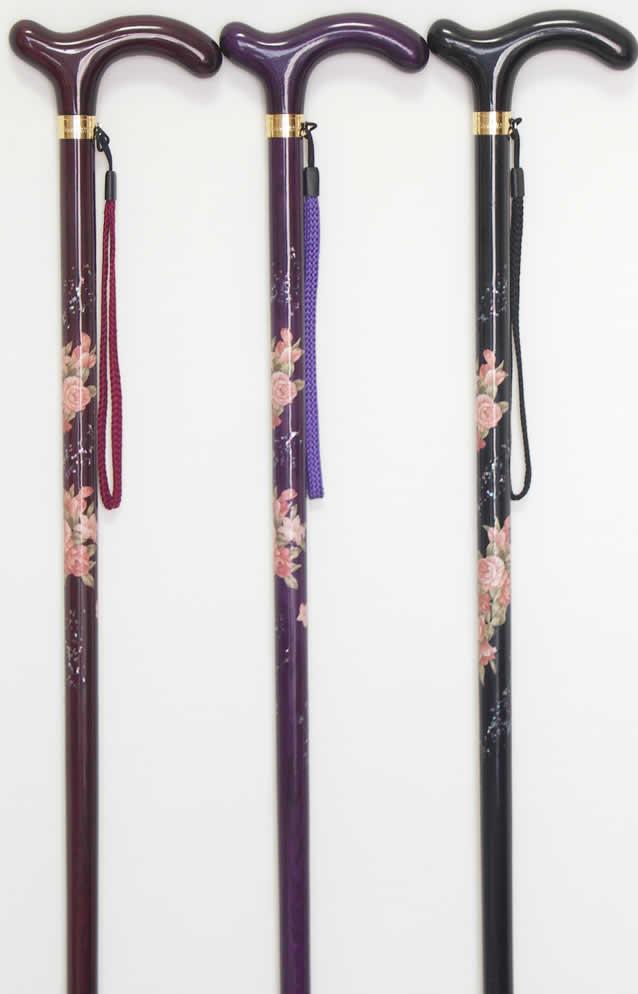 ステッキ 杖 L字型 1本物 螺鈿 ラデン バラ柄 「螺鈿(らでん)デコパージュステッキ」 【送料無料】「シニア市場」