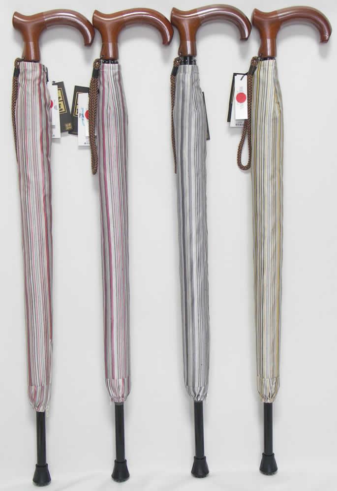 ステッキとしてご使用になれるステッキ傘(つえかさ)甲州つむぎ ストライプ柄 手開き 晴雨兼用 【送料無料】