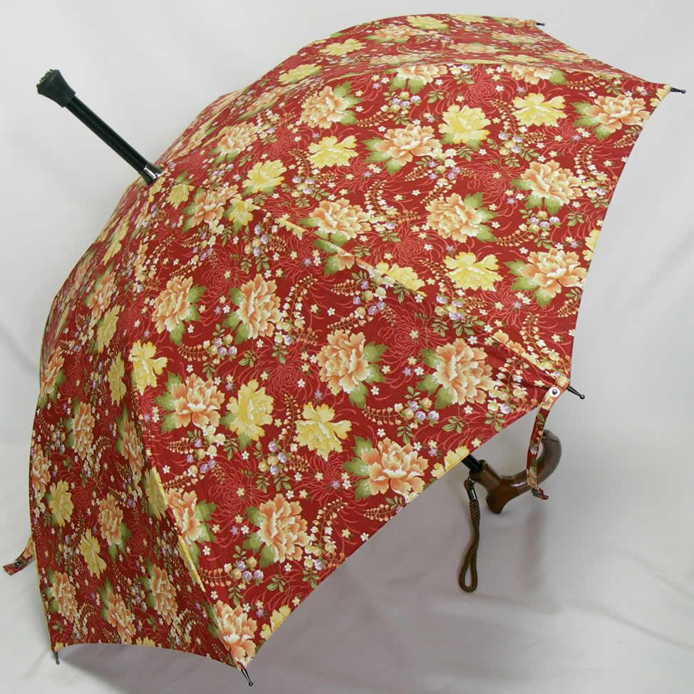ステッキとしてご使用になれるステッキ傘(つえかさ)花柄 手開き 晴雨兼用 【送料無料】
