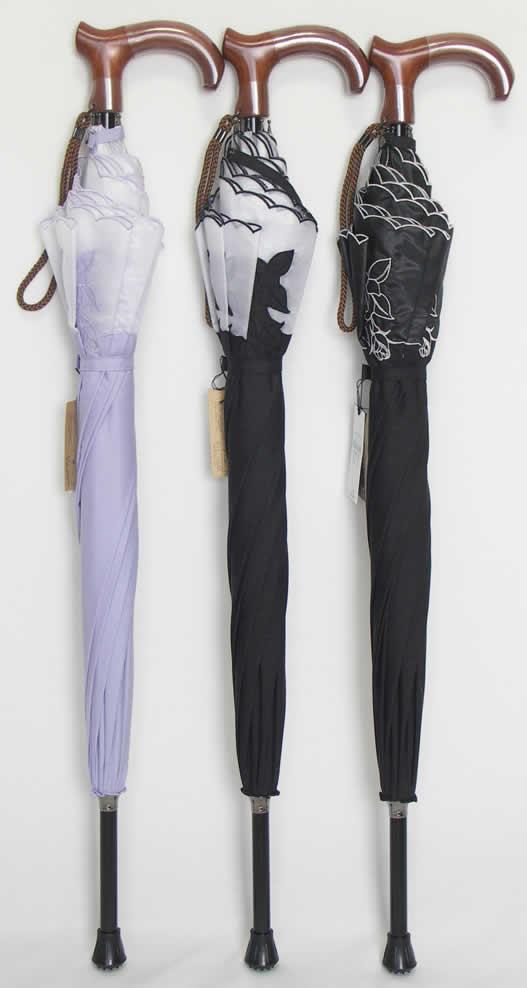 ステッキとしてご使用になれるステッキ傘(つえかさ)オーガンジー カットワークバラ柄刺繍 手開き 晴雨兼用 Lタイプ 【送料無料】
