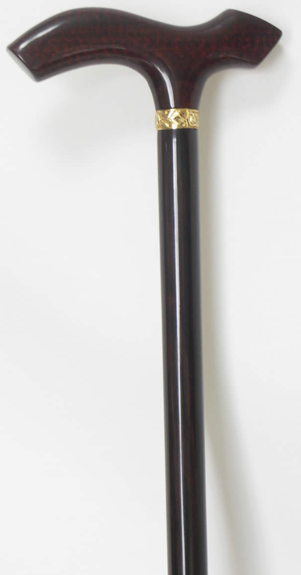 最高級素材スネークウッドをアニマル型にしたステッキです。散歩が楽しくなります。スネークウッドアニマル型黒檀ステッキ(杖)18金(ゴールド)リング 【送料無料】「シニア市場」