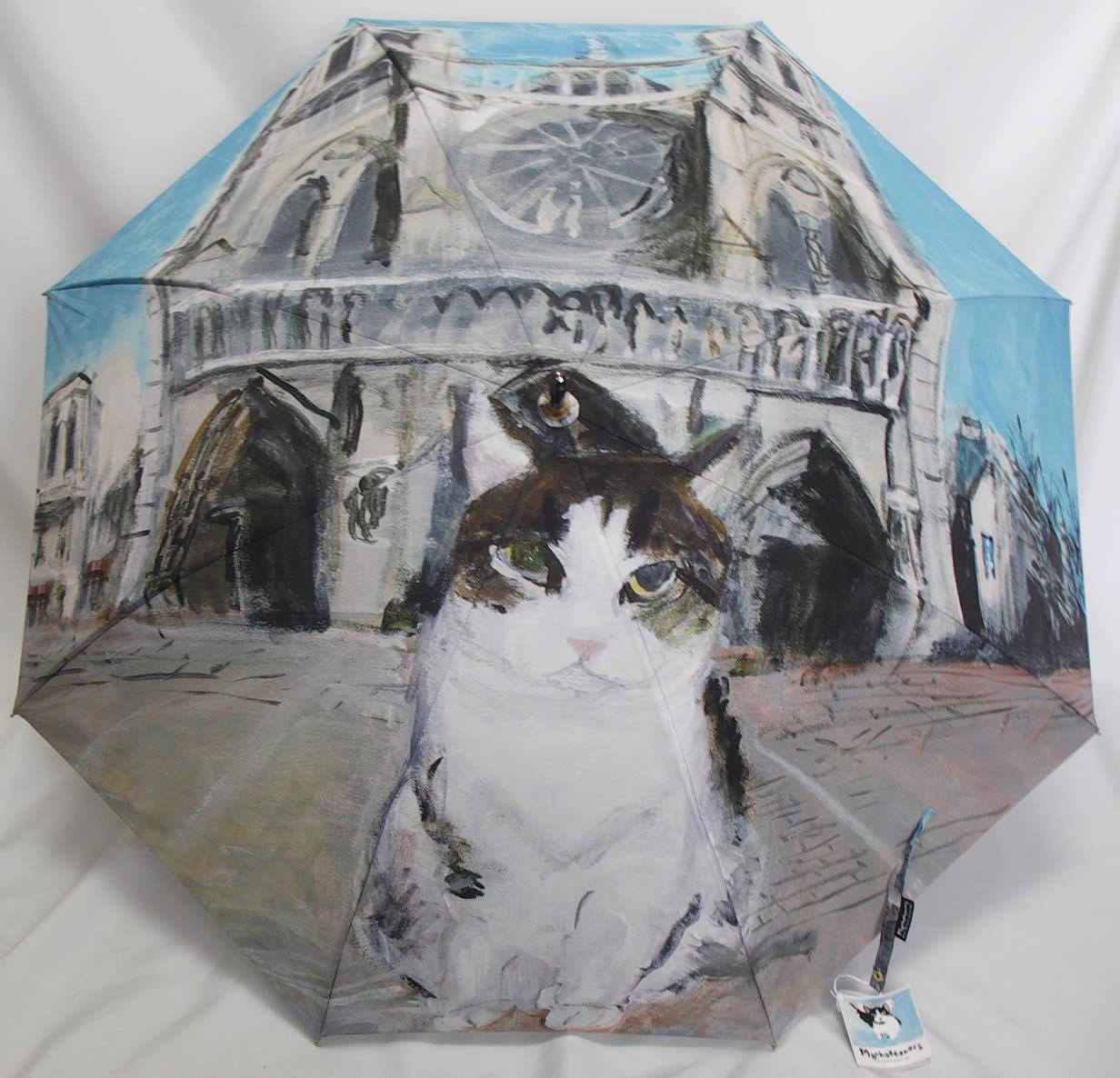 マンハッタナーズ傘 婦人傘 レディース 長傘 ノートルダム 猫 「マンハッタナーズ ノートルダムの敬虔なフェデリコ」 【送料無料】