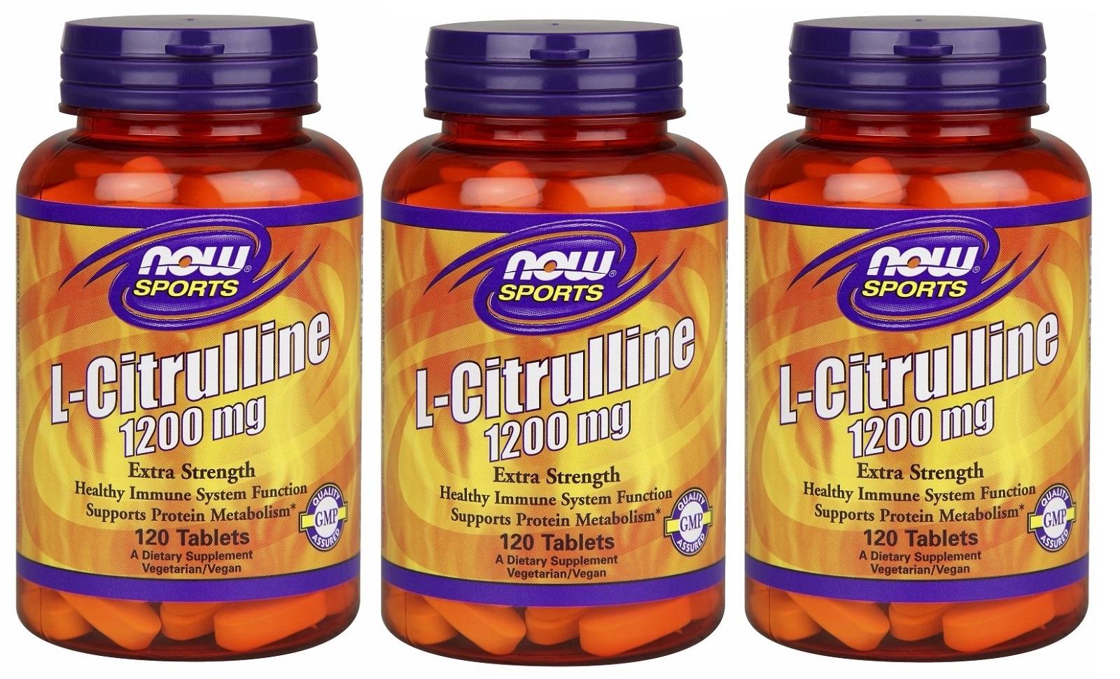 3本セット ナウスポーツ L-シトルリン エキストラストレングス 1200mg 120粒 ( NOW FOODS L-Citrulline 1200 mg 120 tabs)