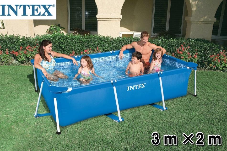 プールカバー付き インテックス フレームプール 300×200cm  INTEX Rectangular Frame Pool 長方形 大型プール レクタングラ ビニールプール 家庭用プール ファミリープール 水遊び 野外 屋外 キッズ 子供 ジャンボプール 浮き輪 フロート 3m×2m:Shopアベイル