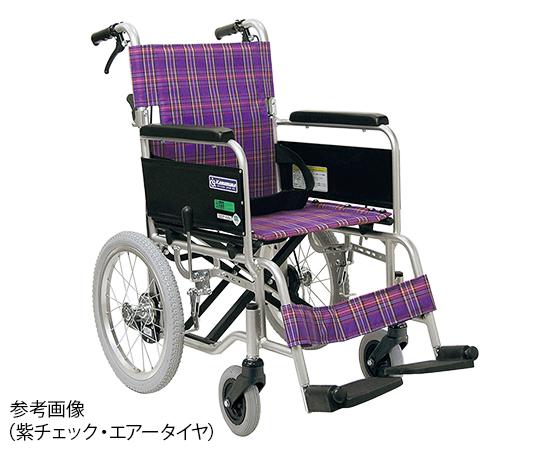 車椅子(アルミ製・背折れタイプ) ノーパンク 紫チェック