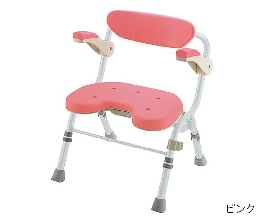 折りたたみシャワーチェア (U型) ピンク