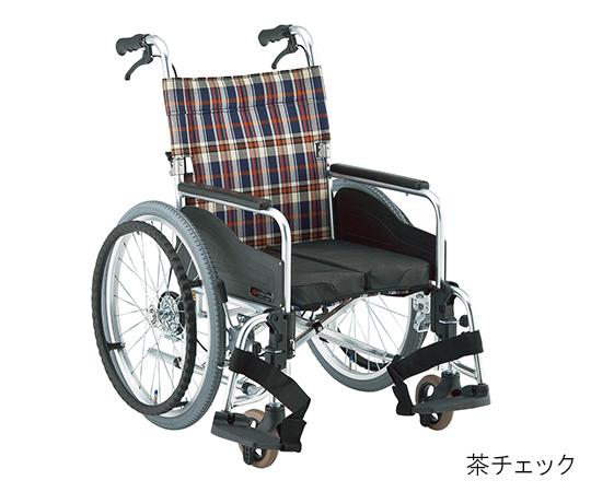 自動ブレーキ装置付車いす(アルミ製自走式) 茶チェック 380mm