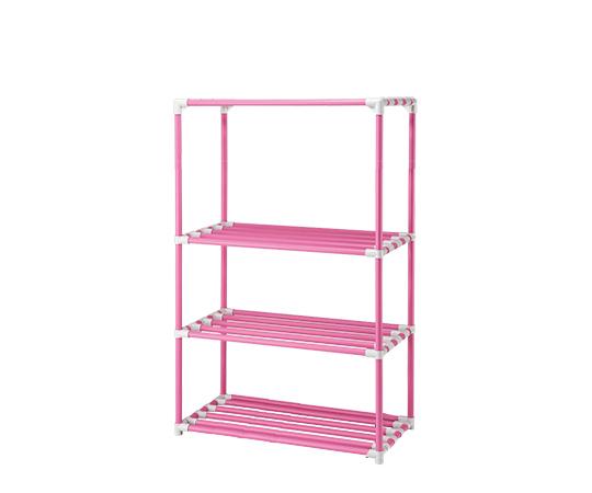 4段ポールシェルフ(抗菌防カビイレクター(R)) 900×450×1800 キャスター無し ピンク