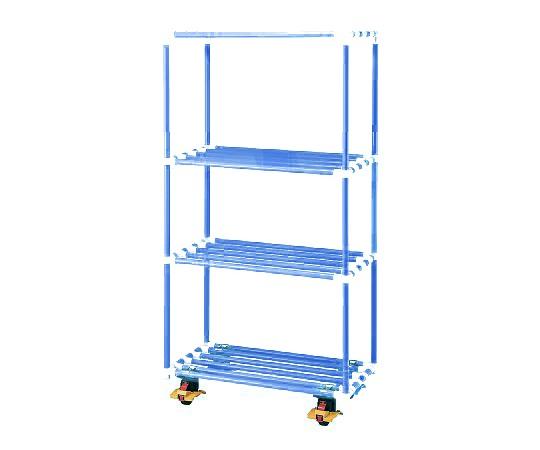 4段ポールシェルフ(抗菌防カビイレクター(R)) 900×450×1800 キャスター付き ブルー