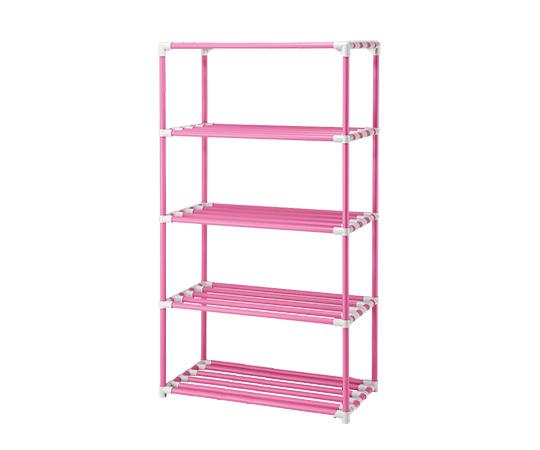 5段ポールシェルフ(抗菌防カビイレクター(R)) 1200×450×1800 キャスター無し ピンク