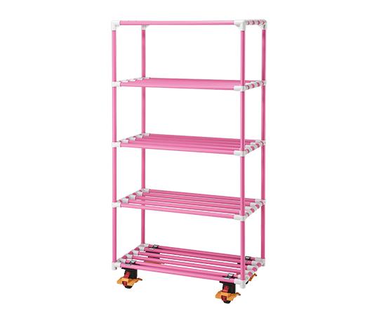 5段ポールシェルフ(抗菌防カビイレクター(R)) 1500×450×1800 キャスター付き ピンク
