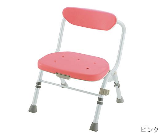 折りたたみシャワーチェア (R型) 背付 ピンク
