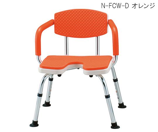シャワーベンチすま~いる (手すり付き) 620×550×650~750mm オレンジ