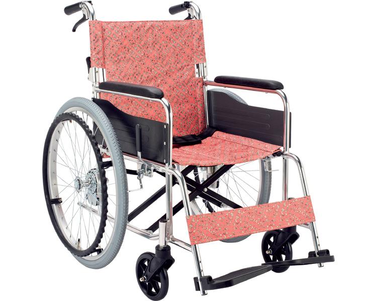 【送料無料】アルミ自走用車いす フロール EX-50KP 小花ピンク マキライフテック 【非課税】 W1727