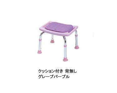 シャワーチェアコンパクトミニ 背もたれなし(クッション付) (T-6605-3グレープパープル)【テツコーポレーション】 S0035