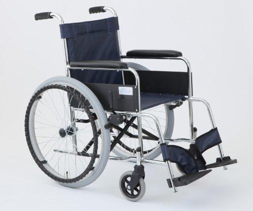 【送料無料】自走式車いす リーズ (MW-22ST-LNB レザーネイビーブルー)【美和商事】 W1498