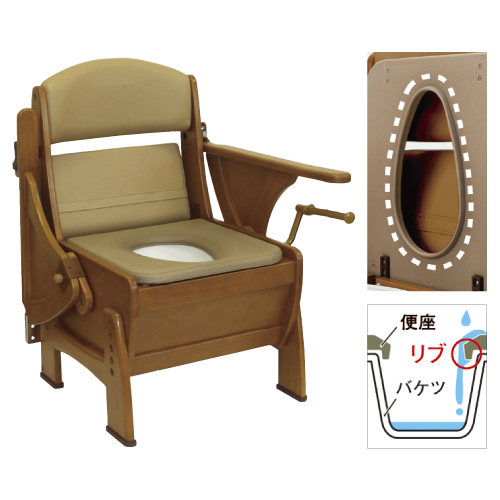 【送料無料】【専門家による1年間の無料介護相談付】ナーセントポータブルトイレ(木製ピボット型)  キャスター付