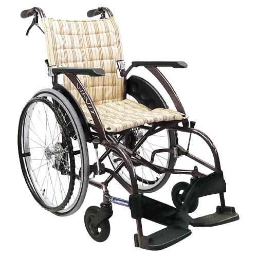 カワムラサイクル 車いす(アルミ製) ウェイビット ソフトタイヤ仕様 WA22-42S カラー:カフェモカNo.95 規格:自走用 座幅:420【非】