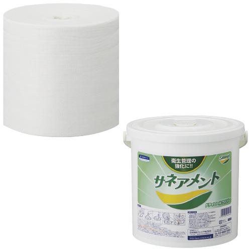 日本製紙クレシア サネアメント ドライロールワイパー ホワイト400  入数:400枚×12巻