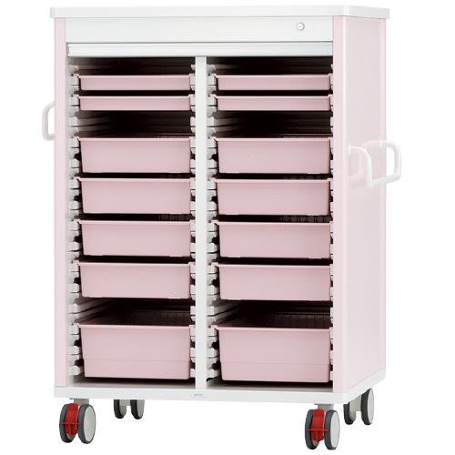 ケルン テイスウカート(シャッタータイプ)ダブル KK-221-03SET トレーカラー:透明 本体カラー:ピンク