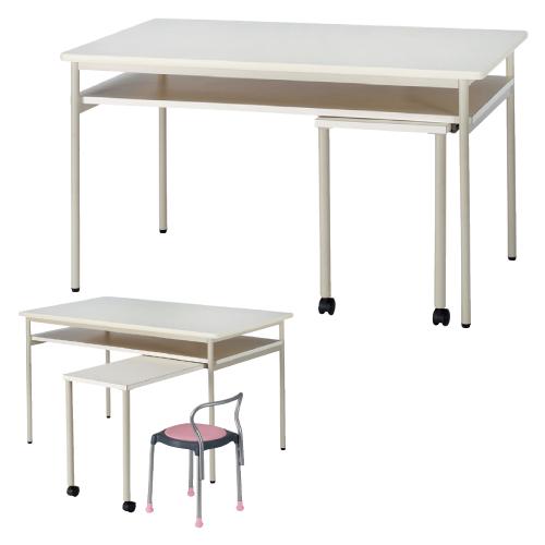 【送料無料】【無料健康相談 対象製品】ナーステーブル(補助テーブル付) ピンク W1500×D900×H900mm NHJ-1590【02P06Aug16】