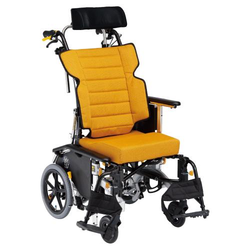 【送料無料】【非課税】ティルト&リクライニング車いすマイチルトコンパクト3D  MH-CR3D オレンジ
