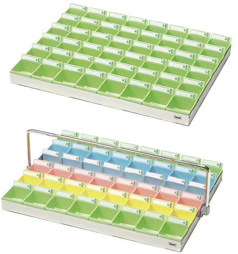 【送料無料】【無料健康相談 対象製品】投薬トレー(48人用)  5色セット ST-485